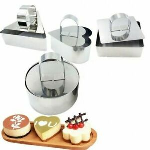 Stainless Steel Cake Mousse Pastry Mini Baking Ring Mold with Pusher UK