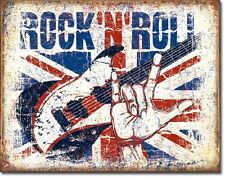 Rock N Roll British Flag Background TIN SIGN Guitar Metal Poster Wall Art