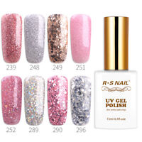RS Nail Gel Nail Polish UV LED Varnish Soak Off Glitter Colours