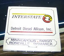 Rare Vintage Matchbook GM Detroit Diesel Allison Minnesota North Dakota parts