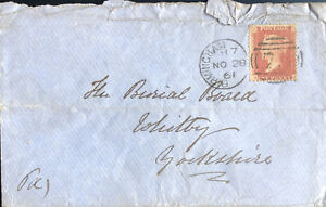 GB QV 1861 COVER PENNY RED STAR 'HJ' FROM BIRMINGHAM TO YORKSHIRE 28TH NOV 1861.