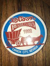 Vintage Kit Carson Rendezvous Button Pin Pinback Carson City NV 1992 Stagecoach