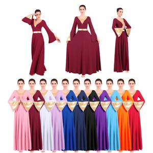 Womens Praise Dance Dress Metallic Long Bell Sleeve Liturgical Pleated Maxi Gown