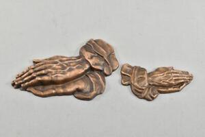 g97h19- 2x Messing Relief Betende Hände nach Dürer