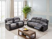 California Jumbo Cord Manual or Electric Recliner Sofa Suites - Grey / Black
