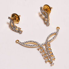 18 Carat Gold Plated Cubic Zirconia Handmade Swing Pendant Set Jewelry