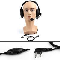 1x Heavy Duty Overhead Headset Boom Mic PTT Fit Kenwood Puxing Baofeng Radio US