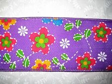 """$1.50/Yard Purple Yellow Floral Cross Stitch 2 1/2"""" Wired Ribbon by the Yard"""