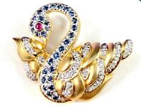 EXQUISITE 14K SOLID GOLD .87 CTW SAPPHIRE RUBY & DIAMOND SWAN BROOCH PENDANT