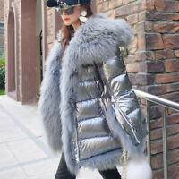 Women Real Mongolia Sheep Lamb Fur Trim Coat Jacket Duck Down Winter Warm Parka