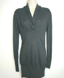 Mint Velvet Tunic Jumper Size 10 Charcoal Grey Longline Sweater Gathered Neck