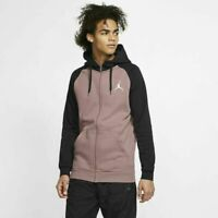 NIKE AIR JORDAN JUMPMAN FULL ZIP FLEECE HOODIE Men's SZ 2XL  MAUVE,BLACK 939998