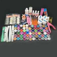 Conjunto Completo Profesional Arte en Uñas Acrílico Polvo Líquido Consejos UV Gel Kit Decoración