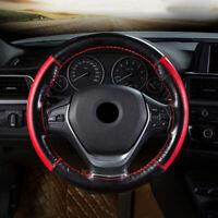 Genuine Leather DIY Car Steering Wheel Cover 38cm W/ Needles Thread Black Blue