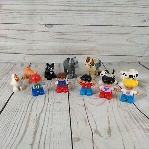 12 Lego Duplo figures Farm Animal Figures -  Pig, cat Chicken dogs