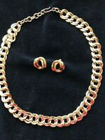 "Designer Signed Monet Gold Tone  Double Curb Link 20"" Chain Necklace & Earrings"
