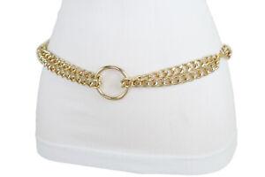 Women Gold Metal Chain Belt Hip Waist Big Center Ring Charm Size XS S M L XL XXL