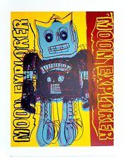 Andy Warhol Moon Explorer ROBOT 1983 Blue & Yellow poster stampa d'arte 36x28cm