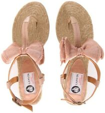 BNIB LANVIN PINK DUSTY BEIGE BOW SANDALS ESPADRILLES £330 Net-a-Porter UK3/US6