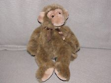 Russ Berrie Jimby Plush Monkey 8in Tipped Brown Poseable Unjointed Stuffed Small