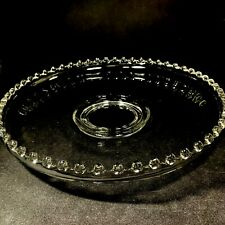 Imperial Candlewick Glass Cupped Edge Torte Plate Footed Serving Tray 13""