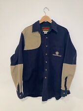 Vintage Smith And Wesson Shooting Shirt Padded Shoulder Mens Size Xl Navy Tan