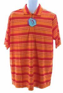 Slazenger Mens Polo Orange Stripes Casual Short Sleeve Shirt Size Large