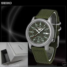 SEIKO 5+BOX SNK805K2 AUTOMATIC military WATCH (CAL.7S26C) Green face nylon strap