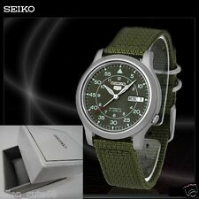 SEIKO 5 BOX SNK805K2 AUTOMATIC military WATCH (CAL.7S26C) Green face nylon strap