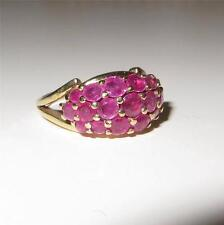 Vintage 14K Gold Ruby Pave Dome Ring 19 Rubies 5.3 grams Size 5.5 c1950