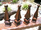 FOUR cast iron Steeple finials Architectural Rust finish