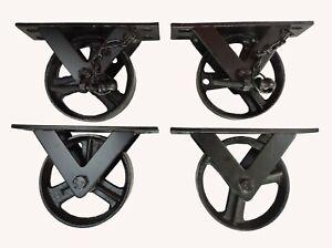 "Set OF 4 Cast Iron 5"" Wheel 2 LOCKED & 2 WITHOUTLOCK , Metal Wheel Industrial Fu"