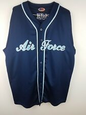 Men's XL United States Air Force Button Front Baseball Style Jersey Blue