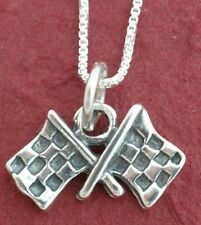 Sterling Silver Checkered Flag Necklace solid 925 Car racing motor grand prix