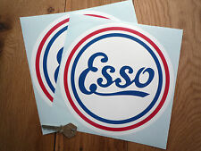 "Esso Old Style Circular Petrol Pump STICKERS 8"" Pair Gas Classic Race Car Racing"