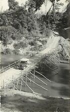 Vintage Real Photo PC Chittagong Hill Tracts East Pakistan Rustic Bridge & Jeep