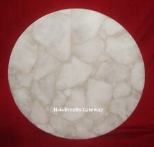 Beautiful White Quartz Round Table Tops, Handmade White Quartz Center Table Top