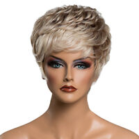 Short Fringe Layered Wig Real Human Hair Wigs Lady Party Daily Wear Heat OK