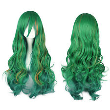 Women Ladies Long Curly Wavy Full Wig Green Mix Yellow Hair Cosplay Costume