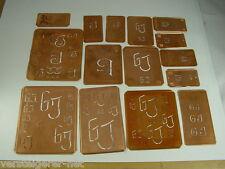 15 x GJ alte Merkenthaler Monogramme, Kupfer Schablonen, Stencils,Patrons broder