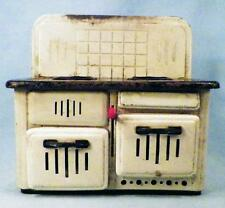 Vintage Tin Toy Stove Graphite Sparks Cream Black Western Germany As Is
