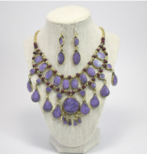 Indian Tribal Lavender Stone & Brass Statement Necklace & Earring Set