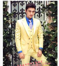 Men Groomsman Vest Pant Costume 3 Pieces Lapel Collar Coat Wedding Business Suit