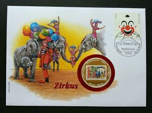 Germany Circus 2002 Clown Elephant Balloon Children FDC (coin cover)