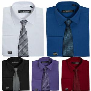 Boys Smart Plain Shirt Tie & Cufflinks Set Age 1 -10 Wedding Prom Funeral Party