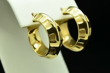 14K YELLOW GOLD HOLLOW WITH DESIGN HOOP EARRINGS GOLD-125
