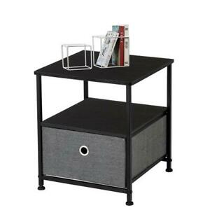 Nightstand 1-Drawer Shelf Storage- Bedside Furniture & Accent End Table Chest