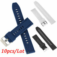 10pcs/Lot 18 20 22 24mm Rubber Watch Band Strap Silicone Replacement Watchband