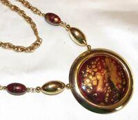 Vintage Statement Gold Tone Metal Big Splatter Medallion Necklace
