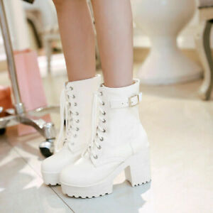 Women's Brown Leather Lace-Up Ankle Boots Water Platform Thick High-Heeled Boots